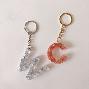 Handmade resin alphabet keychain